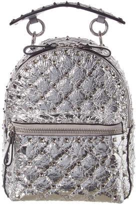 Valentino Rockstud Spike Mini Metallic Leather Backpack