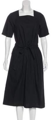 La Garçonne Moderne Tie-Front Midi Dress
