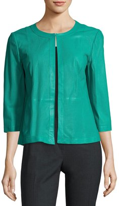 Lafayette 148 New York 3/4-Sleeve Perforated-Leather Swing Jacket, Turquoise $599 thestylecure.com