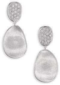 Marco Bicego Lunaria Small Diamond& 18K White Gold Double-Drop Earrings