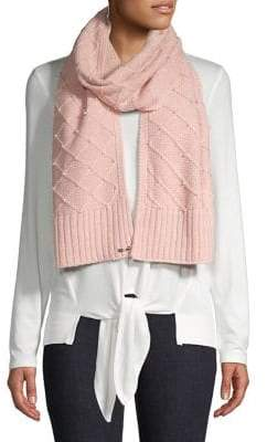 Karl Lagerfeld Paris Faux Pearl Studded Quilted Scarf