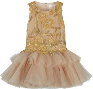 Mischka Aoki Embellished Applique Flower Tutu Dress
