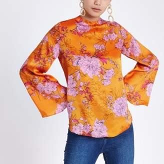 River Island Orange floral print flare sleeve top