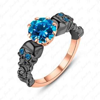 Gemstar Jewellery Skull Goth Blue Topaz Womens 14k Rose & Black Gold Filled Wedding Ring in 925 Silver