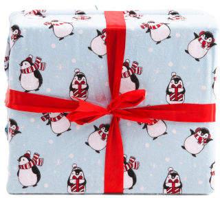 Holiday Penguins Flannel Sheet Set