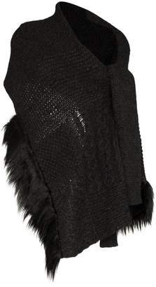 Simone Rocha faux fur trim wool blend wrap cardigan scarf