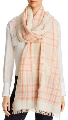 Tory Burch Logo Plaid Virgin Wool Scarf