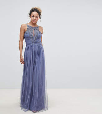 Little Mistress Petite Floral Applique Maxi Dress