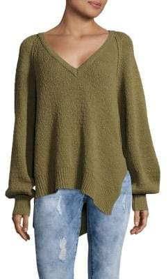Free People West Coast Asymmetrical V-Neck Sweater