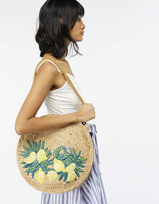 Monsoon Laila Lemon Round Straw Shoulder Bag