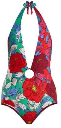 Diane von Furstenberg Cheeky Floral Print Swimsuit - Womens - Multi Stripe