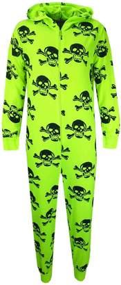 a2z4kids Kids Girls Boys Skull & Cross Bone Onesie All In One Summer Jumpsuit PJ's 5-13 Y