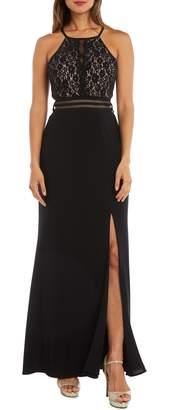 Morgan & Co. Strappy Lace Bodice Gown