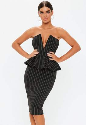 Missguided Black Pinstripe Bandeau Peplum Midi Dress