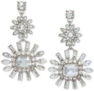 Badgley Mischka Silver-Tone Crystal Flower Drop Earrings