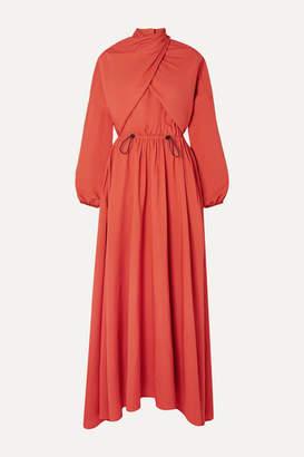 Kenzo Draped Twill Maxi Dress - Orange