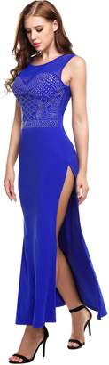 Meaneor Lady's Formal Sequin Embellished Perspective Side Slit Long Tank Cocktail Gowns Dress B S