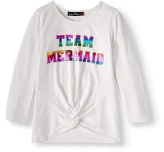 Love Alexa Foil Graphic Love Sleeve Tuck Front T-Shirt (Big Girls)