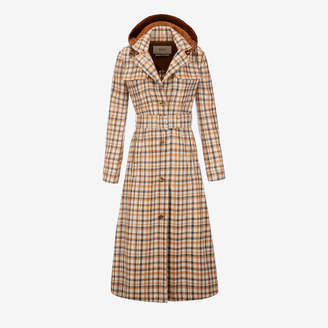 Bally Laminated Check Trench Coat Brown, Women's laminated cotton trench coat in multi-camel