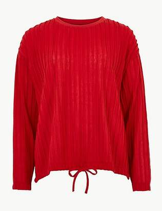 Marks and Spencer Textured Round Neck Long Sleeve Top