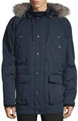 Swiss Tech Men's Down Parka Jacket with Hood, up to Size 5XL