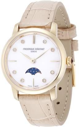 Frederique Constant Women's Slimline Moonphase Diamond 30mm Beige Leather Band Quartz Watch FC-206MPWD1S5