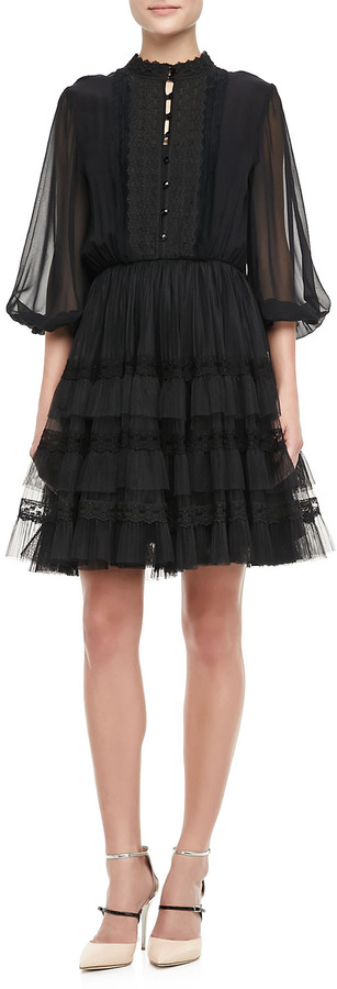 Alice + Olivia Suze Sheer-Sleeve Party Dress