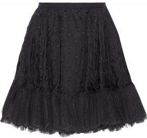 RED Valentino Swiss Dot Tulle-Trimmed Organza Mini Skirt