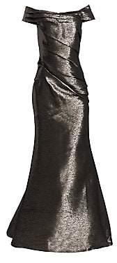 Rene Ruiz Collection Women's Off-The-Shoulder Metallic Gown