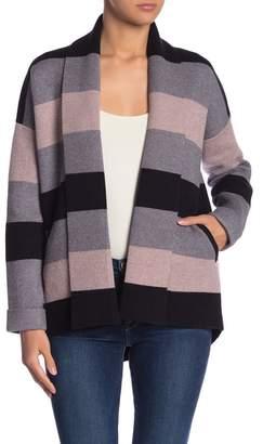 Fate Striped Shawl Collar Sweater