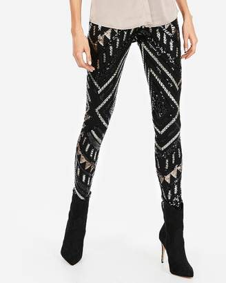 Express Petite High Waisted Patterned Sequin Leggings