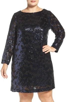 Plus Size Women's Vince Camuto Sequin Long Sleeve Shift Dress $188 thestylecure.com