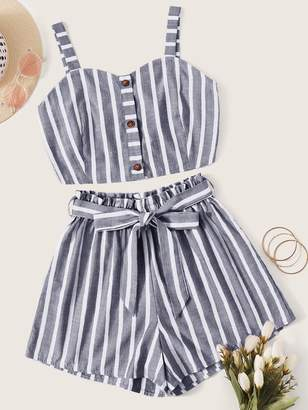 Shein Vertical Striped Cami Top & Belted Paperbag Shorts