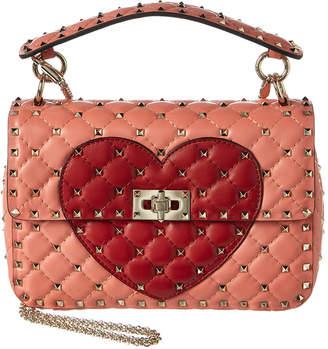 Valentino Rockstud Spike It Heart Medium Quilted Leather Shoulder Bag