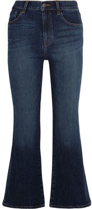 J Brand - Carolina Cropped High-rise Flared Jeans - Mid denim $200 thestylecure.com