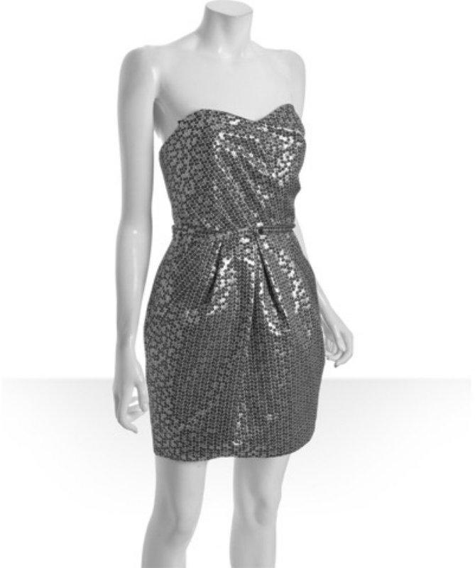Alexia Admor silver trompe l'oeil 'sequin' printed strapless dress