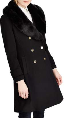 Lauren Ralph Lauren Wool Blend Coat with Faux Fur Trim