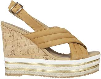 Hogan Cross Strap Wedge Sandals