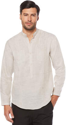 Cubavera Big & Tall 100% Linen Long Sleeve 2 Pocket Popover Shirt