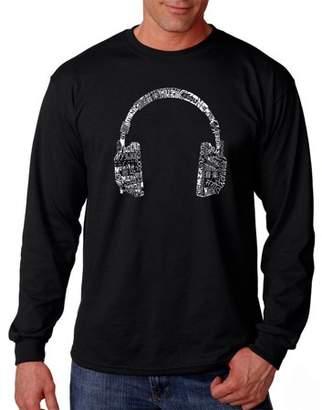 Pop Culture Big Men's Long Sleeve T-Shirt - Headphones - Languages