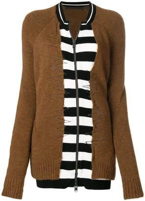 Haider Ackermann striped zip-up cardigan