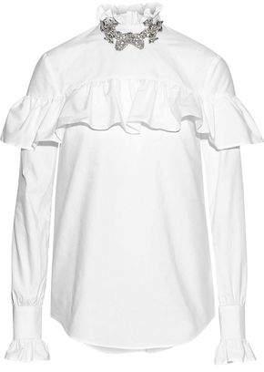 Christopher Kane Crystal-Embellished Ruffle-Trimmed Cotton-Poplin Blouse