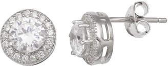 clear SILVER TREASURES Silver Treasures 7mm Stud Earrings