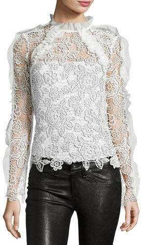 Self-Portrait Cutout Floral Guipure Lace Top