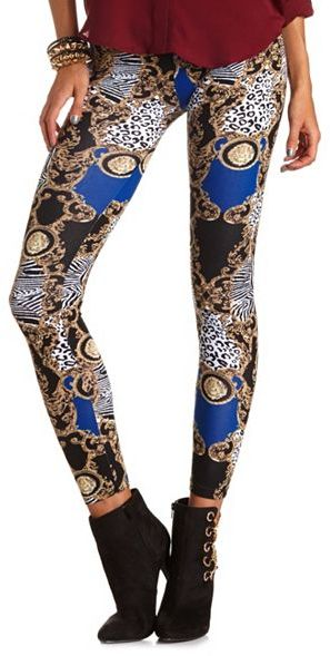Charlotte Russe Animal Print Cotton Legging