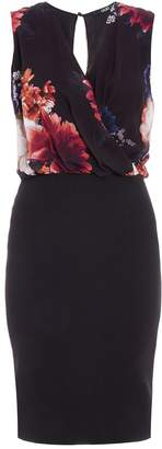 Quiz Black Chiffon Floral Print Midi Dress