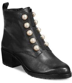 424 Fifth Floria Leather Faux Pearl Embellished Ankle Boots