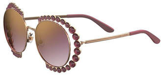 Elie Saab Round Mirrored Sunglasses w/ Stone Stations