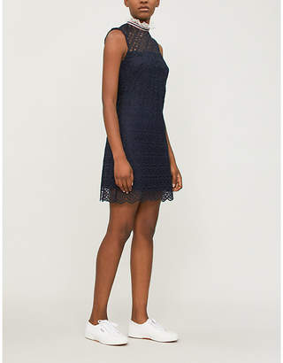 Sandro High-neck embroidered-lace dress