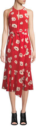 Derek Lam 10 Crosby Floral-Print Belted Halter Dress with Asymmetric Hem